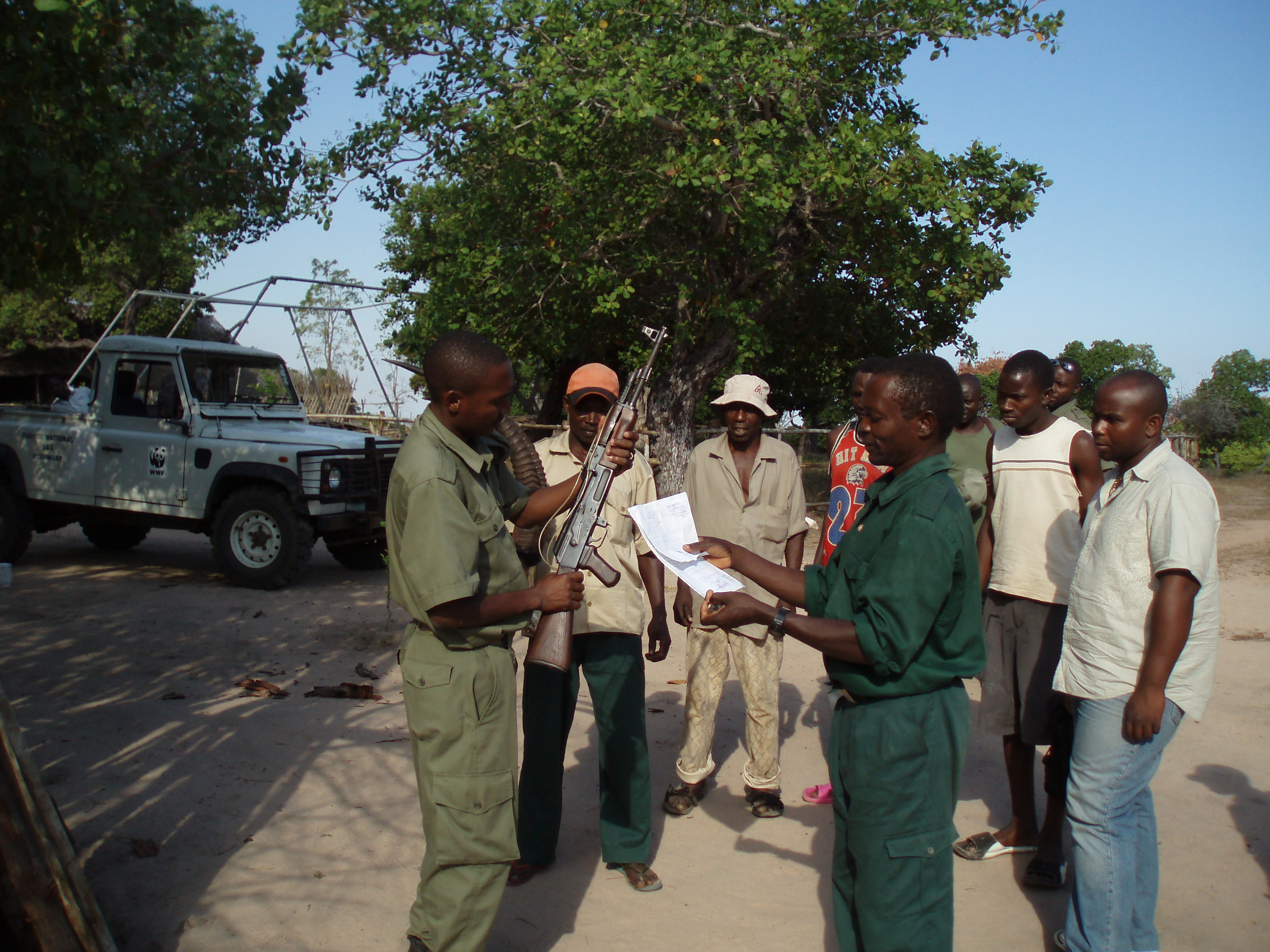 Automatic weapon captured by Mareja Community Rangers officially handed over to the chief park ranger