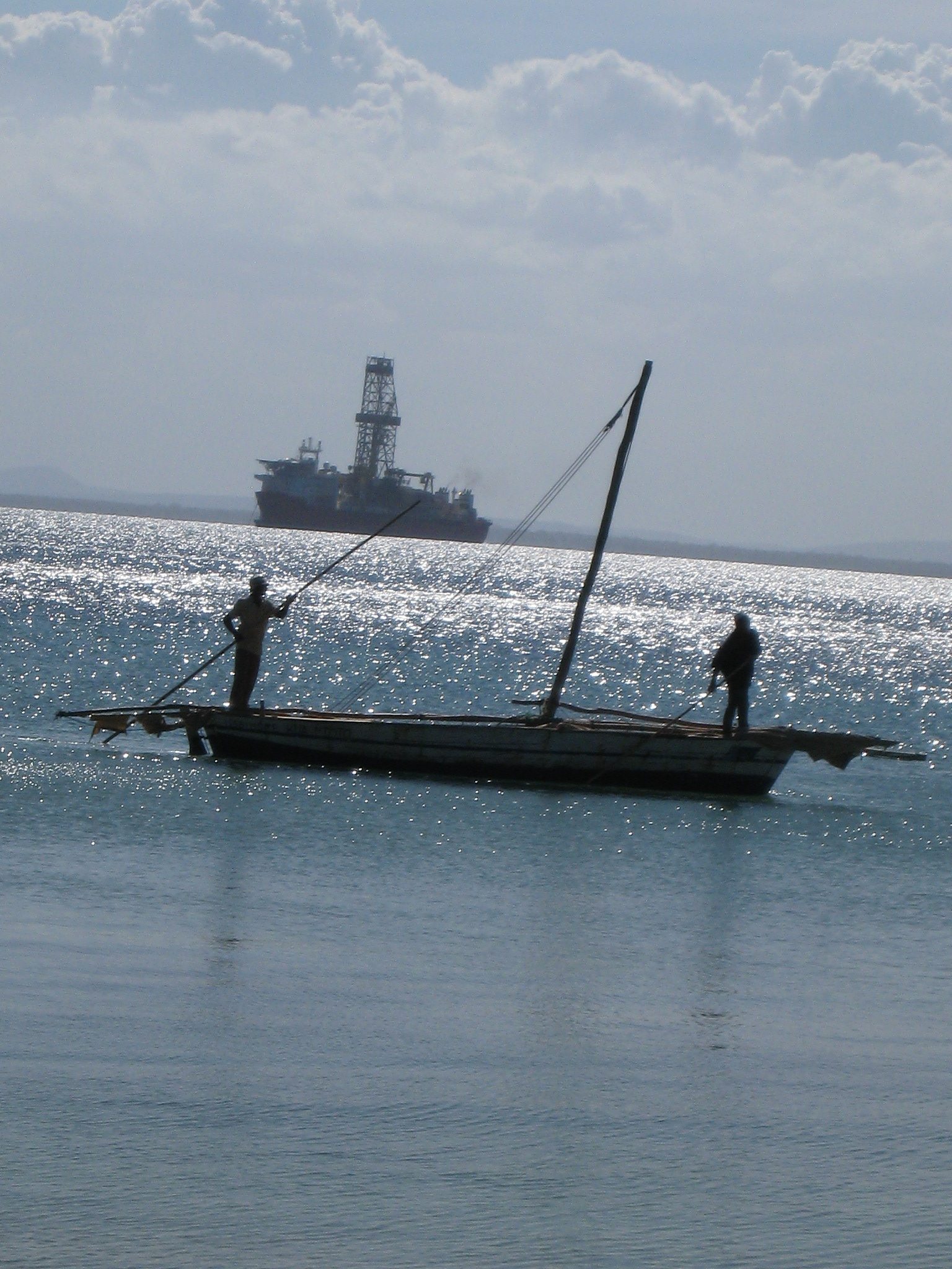 Pemba Bay - a land of contrast oil rig and dhow